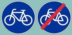 Start and end bikepath sign to know when you get in and out