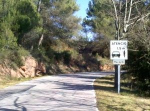 Trafic signs around Barcelona recalling to respect cyclists
